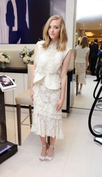 skirt top sandals midi skirt amanda seyfried lace top lace skirt blouse vest ruffled top