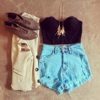 shorts blue shorts fashion clothes style high waisted shorts denim shorts