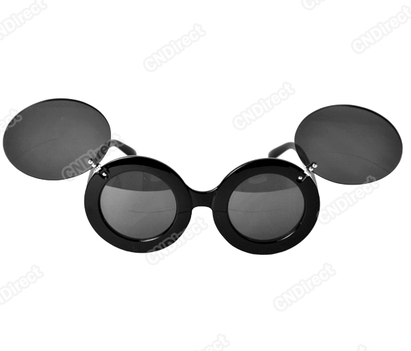 Sunglasses glasses shades lady oversized mouse thick flip up paparazzi