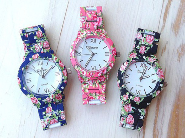 jewels watch geneva watch bracelets floral flowers pink black blue chanel vogue girly outfit fashion cute quote on it quote on it tumblr internet grunge vintage hipster boho bohemian love assessories roman numerals