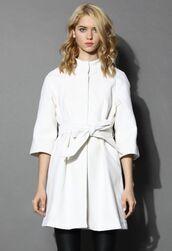 white coat,white wool coat,wool coat,mid-sleeves,raglan sleeves,wool blend coat,self tie belt,funnel neck,www.ustrendy.com