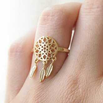 jewels jewelry gold ring gold ring dreamcatcher boho boho chic boho jewelry bohemian