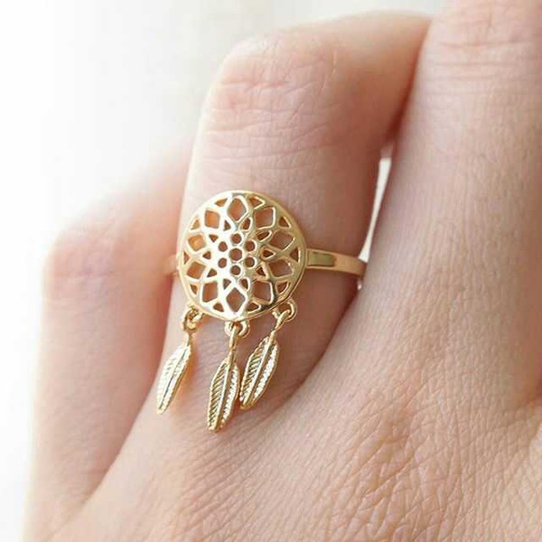 Women ring women jewelry dream catcher rings two colors for How to make a double ring dreamcatcher