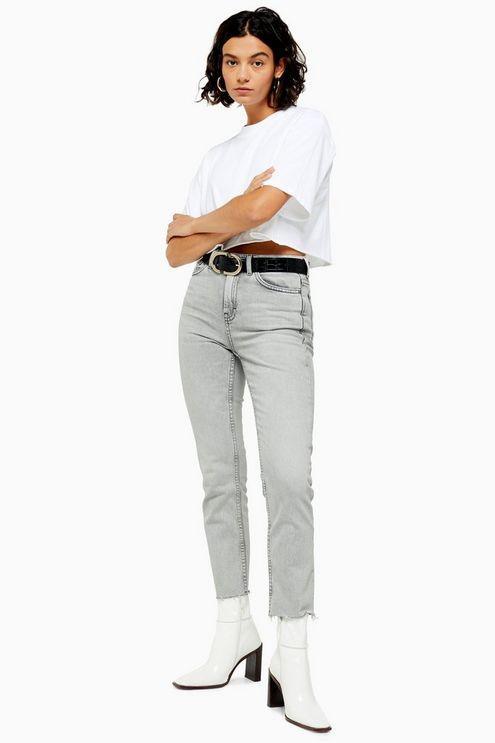 Grey Raw Hem Straight Jeans - Grey