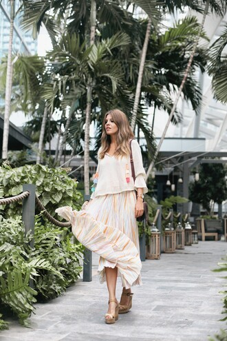 skirt tumblr stripes striped skirt maxi skirt flowy sandals wedges wedge sandals sweater shoes top