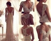 dress,white dress,wedding dress,lace dress,lace,maxi dress,long dress,open backed dress