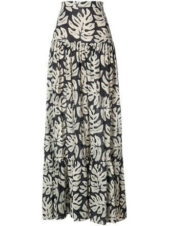 skirt women cotton black wool leaves