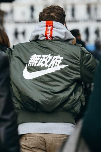 jacket supreme hoodie green jacket bomber jacket nike jacket