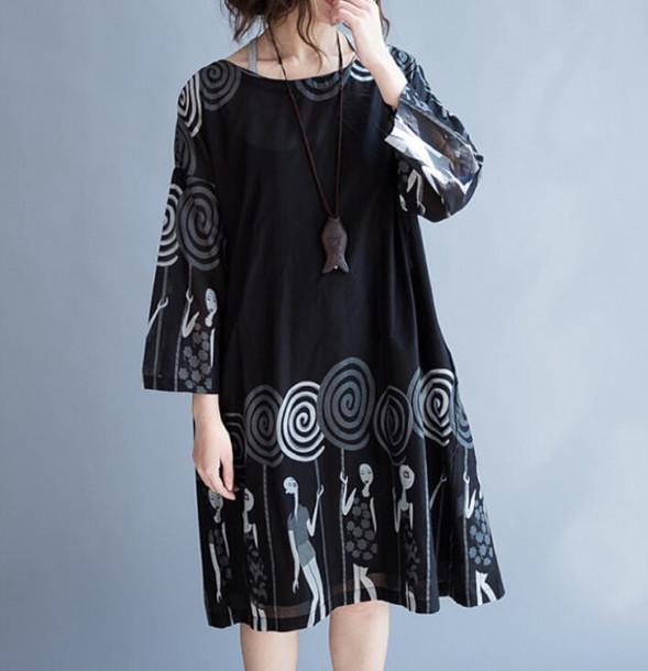 dress black dress loose fitting dress