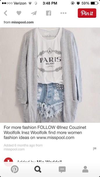 shorts blouse cardigan