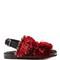 Embellished double-strap fur sandals