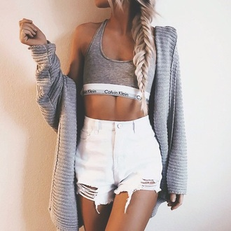 tank top calvin klein grey tumblr shorts ripped bralette white