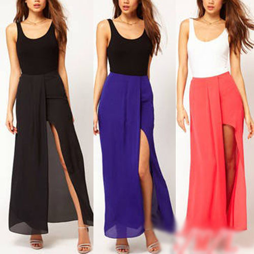 New Womens Boho Summer Chiffon Open Side Split Skirt Long Sexy Maxi Skirt Dress