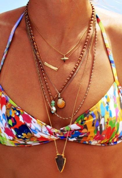 swimwear bikini necklace necklace summer jewels swimwear printed colorful rainbow rainbow bikini