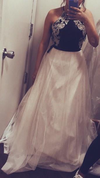 f8eb737007a8 dress prom dress halter neck dress black top white skirt long dress formal dress  halter top