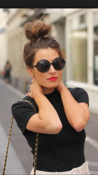 sunglasses bun top knot bun round sunglasses hairstyles black top top