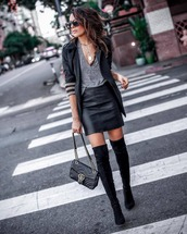 bag,gucci bag,over the knee boots,black boots,leather skirt,blazer,top,gold necklace