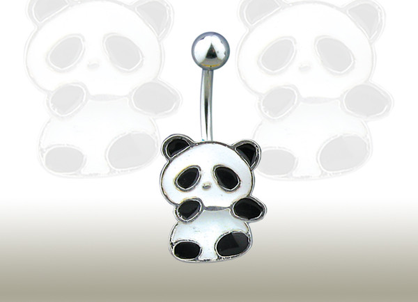 jewels black white panda bear cute belly button ring