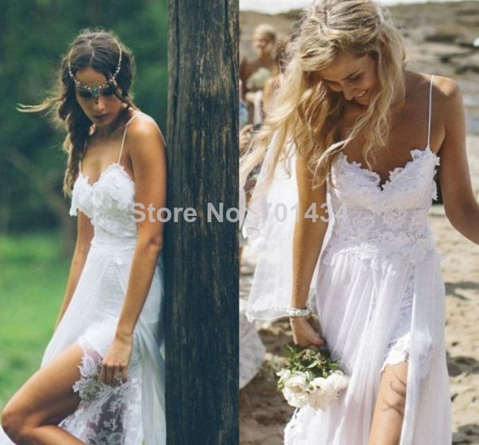 Aliexpress.com : Buy Sexy Beach Lace Wedding Dress 2014 Appliques Spaghetti straps Chiffon Brush Train Custom Made from Reliable wedding dress spaghetti strap suppliers on Cutie Bridal Dress