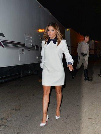 dress collared dress white white dress mini dress eva longoria pumps long sleeve dress shoes louboutin