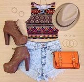 shirt,top,aztec,shorts,high heels,shoes,hat,jeans,purse,hipster,indie,high waisted,tan shoes,boots,bag,brown bag,blouse,tribal print crop top,vest,short sleeve,denim shorts,fedora,outfit,tank top
