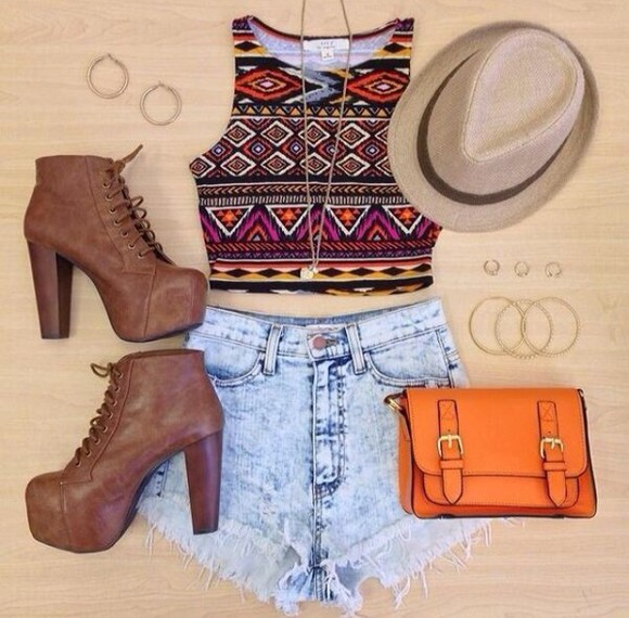 vest blouse tribal print crop top short sleeve shirt top aztec shorts high heels shoes hat jeans jeans, shorts, high waisted, white, top, blue purse hipster indie bag brown bag denim shorts fedora outfit