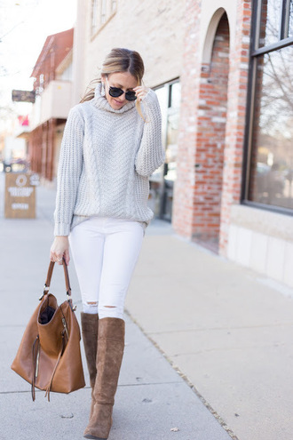 eatpraywearlove blogger sweater jeans bag shoes sunglasses jewels turtleneck sweater grey sweater brown bag white jeans knee high boots