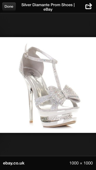 bows shoes high heels silver high heels