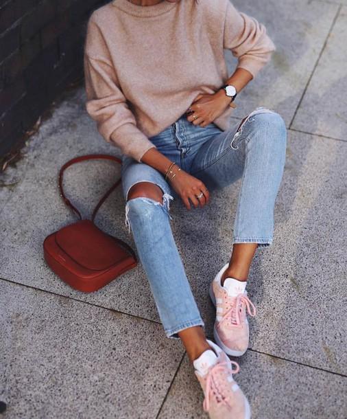 Sweater beige sweater bag brown bag sneakers pink sneakers adidas adidas shoes denim ...