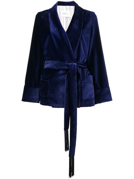 Racil jacket kimono jacket tassel women blue velvet