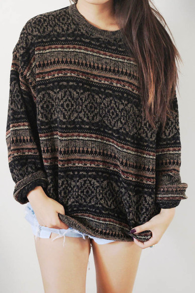 oversized ugly tumblr sweater hipster sweater sweater aztec jumper clothes knitted sweater knitwear winter sweater fall outfits oversized sweater hoodie vintage vintage pullover pullover vintage sweater shirt this please cardigan brown top