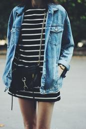 stripes,striped dress,jacket,fall outfits,cute dress,cute jacket,denim,denim jacket,blouse