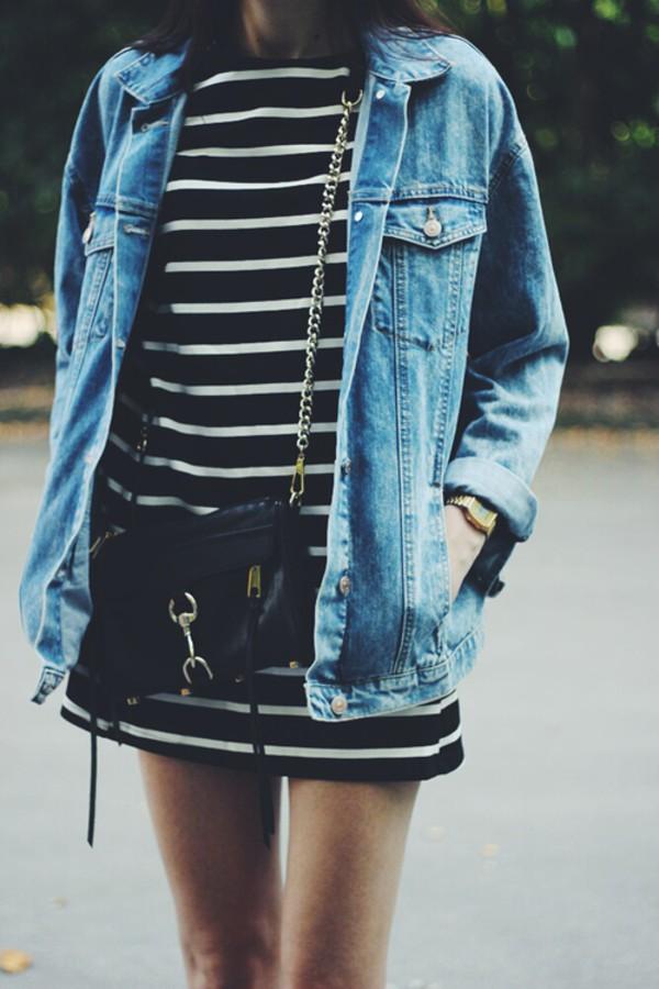 stripes striped dress jacket fall outfits cute dress cute jacket denim denim jacket blouse