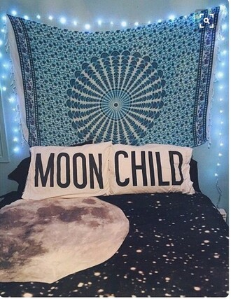 home accessory blue tapestry bedding moon mandala pinterest