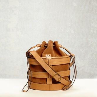 bag bucket bag brown leather bucket bag