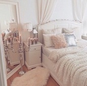 home accessory,mirror,white,rug,white furry rug,bedroom,classy,carpet
