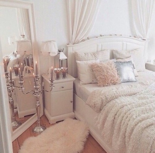 home accessory, mirror, white, rug, white furry rug, bedroom ...