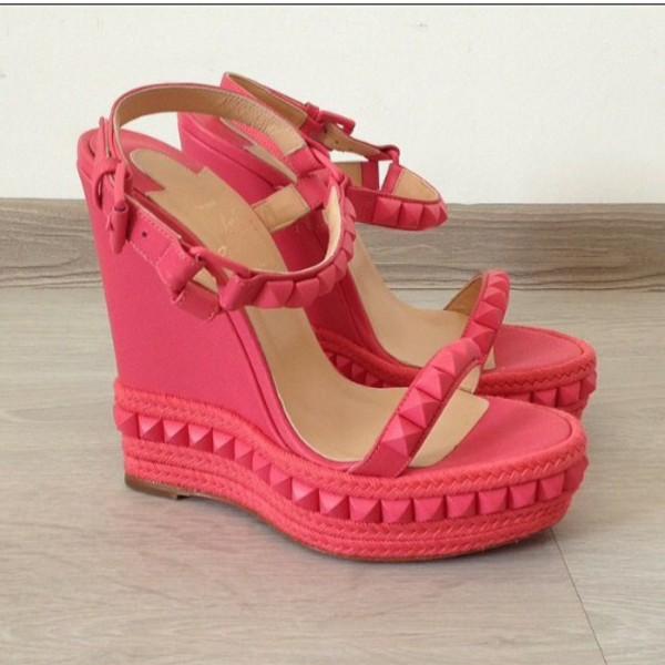 shoes, pink shoes, platform heels, pink platform, cute ...