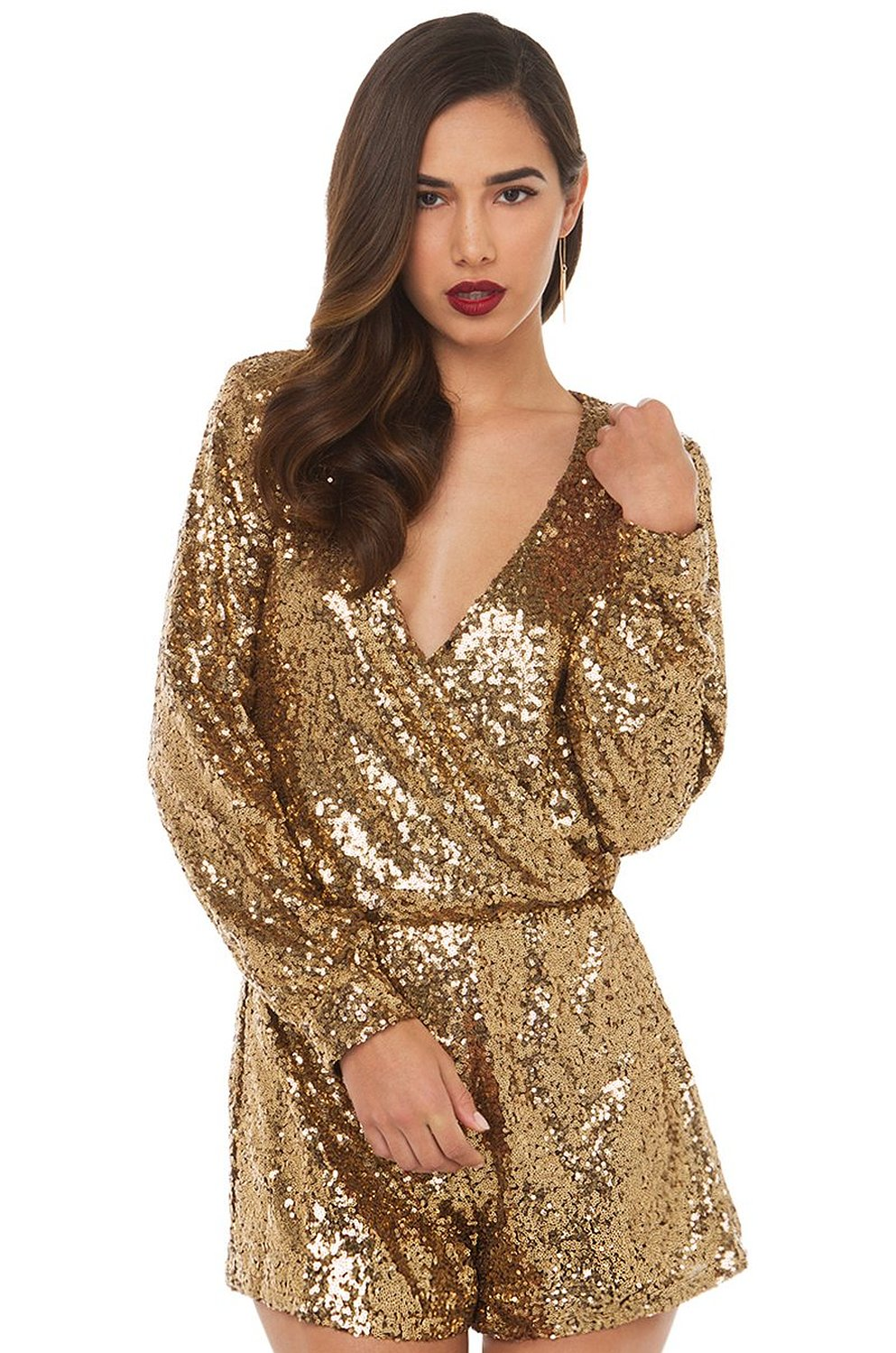 Amazon.com: akira only heart sexy sequin romper in gold: clothing