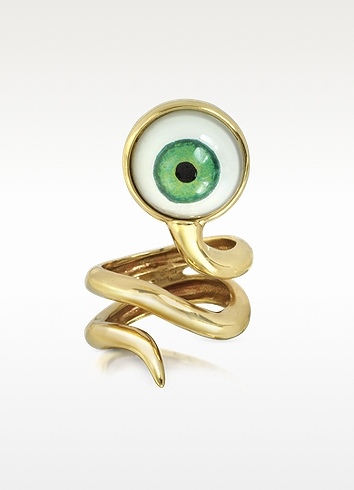 Bernard Delettrez Bronze Snake Ring With Eye USA 5.5 | IT 10 | UK K at FORZIERI
