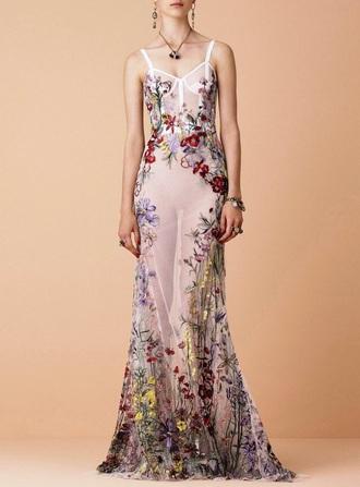 dress sheer floral maxi dress