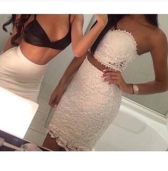 skirt two piece dress set white lace dress bustier dress