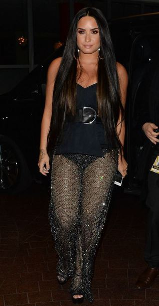 pants see through demi lovato top bustier bodysuit mtv ema awards