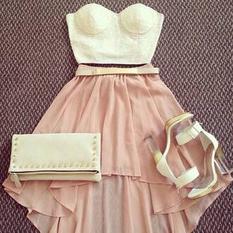 pink skirt white top bandeau crop tops white heels clutch high low skirt