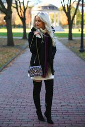 coat,tumblr,jacket,shearling jacket,black shearling jacket,shearling,sweater dress,white dress,boots,black boots,high heels boots,over the knee boots,thigh high boots,bag,chain bag,blonde hair,bvlgari serpenti bag,bulgari serpenti bag