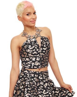 top metallic bustier black bustier leopard print