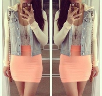 skirt tight skirt salmon orange skirt white lace top denim jacket long sleeves cross necklace jacket tank top