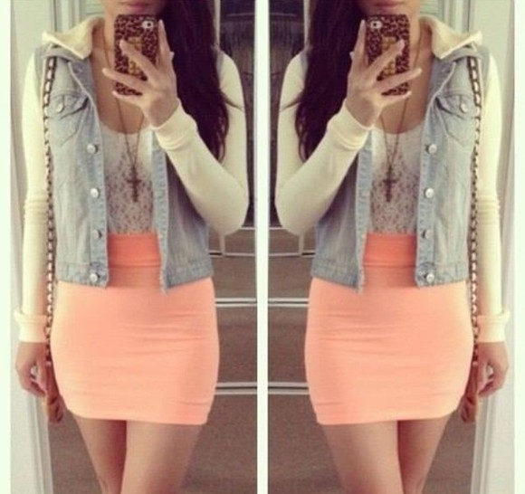 skirt cross necklace tight skirt salmon orange skirt white lace top jean jacket long sleeve