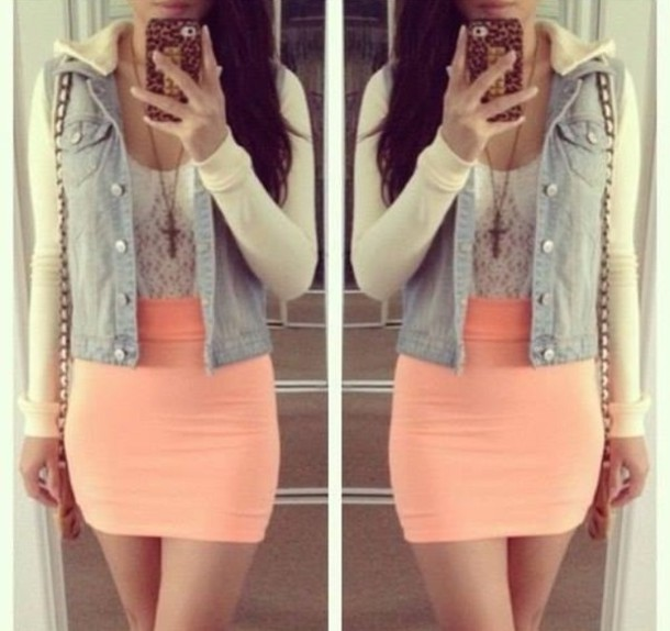 Skirt: tight skirt, salmon, orange skirt, white lace top, denim ...