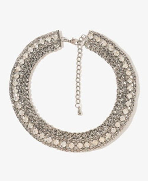 jewels rhinestones chain necklace silver collar